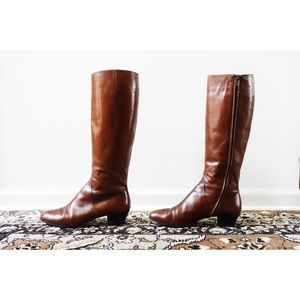 Vtg Ferragamo Brown Leather Tall Boots sz 10
